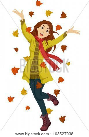 Illustration of a Happy Teenage Girl Playing with Autumn Leaves