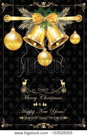 Elegant black greeting card for Christmas and New Year.