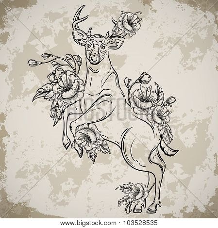 Deer standing on hind legs with bouquets of flowers in sketch style. Vintage vector hand drawn illus