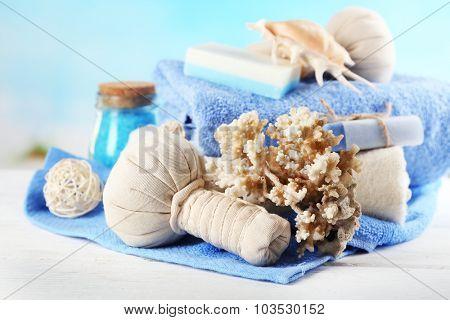 Spa treatments on bright background. Sea spa concept