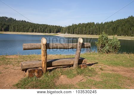 Bench Near Lake. Beautiful Mystical Lake. Black Lake, Durmitor National Park. Montenegro