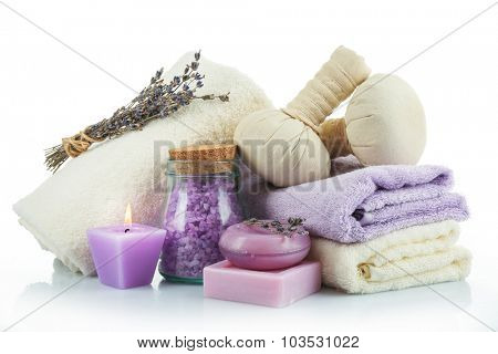 Spa treatments isolated on white. Lavender spa concept