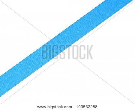 Blue satin ribbon isolated on white
