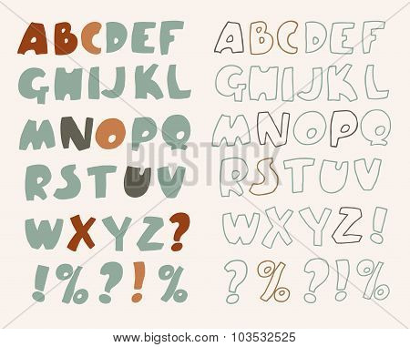 Hand-drawn vector alphabet.