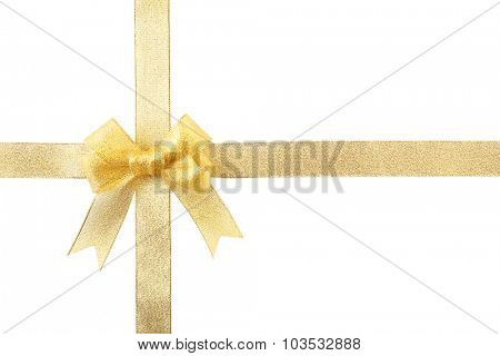 Yellow silk ribbon bow isolated on white