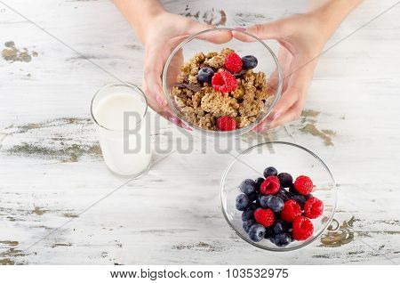 Glass Of Yogurt With Berries, Cereals And Muesli.
