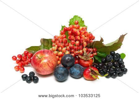 Fruit And Berries Close Up On A White Background