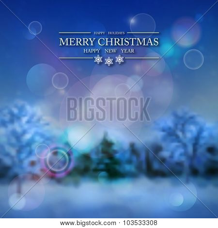 Vector Snowy Forest Winter Background
