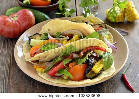 Vegetarian tortilla, tacos with grilled vegetables and corn