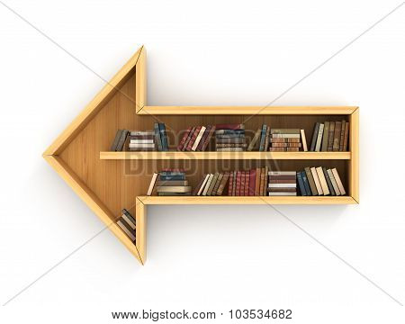 Concept Of Training. Wooden Bookshelf Full Of Book In Form Of Arrow. Directions Of Science. Psychol