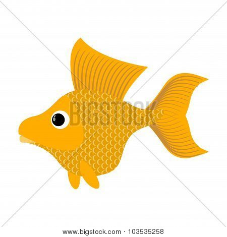 Goldfish On White Background. Fabulous Fish Fulfills Desires. Yellow Sea Animal