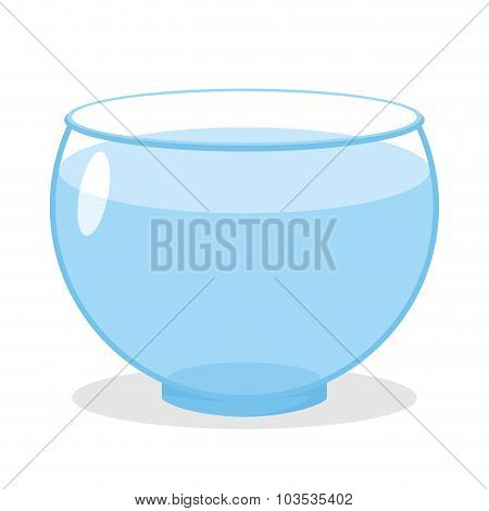 Aquarium With Water. Transparent Glass Tank For Fish Content. Vector Empty Aquarium