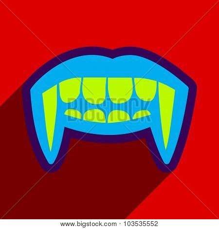Flat with shadow Icon vampire teeth a bright background