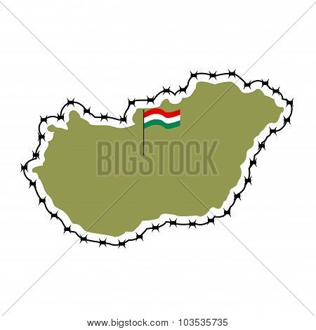 Map Of Hungary. Country Closes  Border Against Refugees. Map Of States With Barbed Wire. European Co