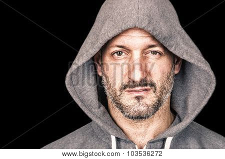 Serious Anrgy Man With Hooded Sweatshirt