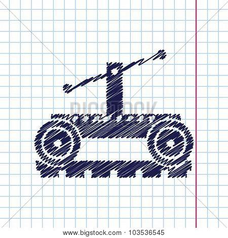 Vetor color flat trolley icon. Epshand drawn0