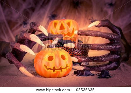 Halloween Witch Hands And Jack-O-Lanterns