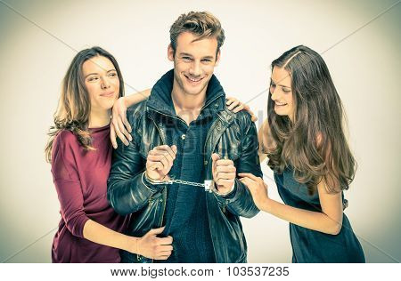 Modern Threesome Love - Two Women With Handcuffed Man