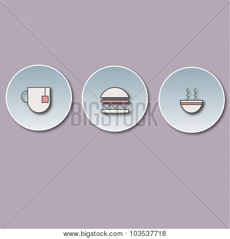 three-dimensional icons with a hamburger, drink and broth