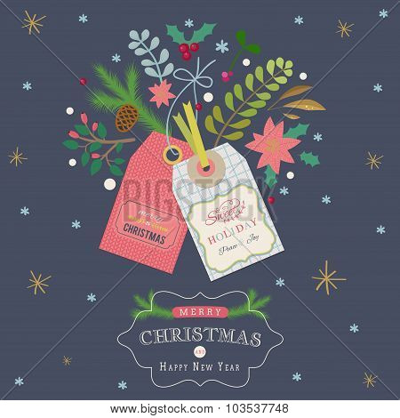 Christmas greeting card with gift tags