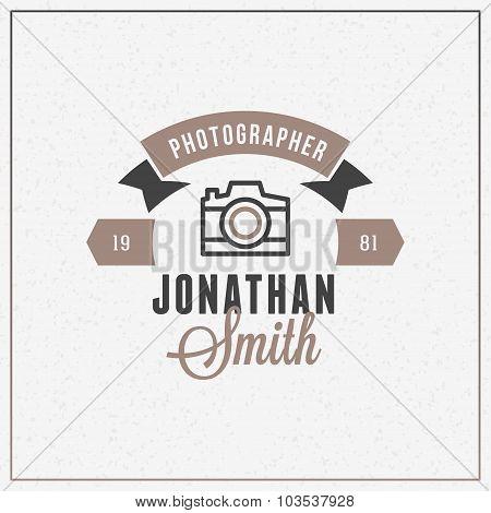 Photography Logo Design Template. Retro Vector Badge. Photographer