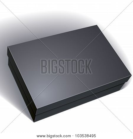 Package Black Box Design Isolated On White Background, Template For Your Package Design, Put Your Im