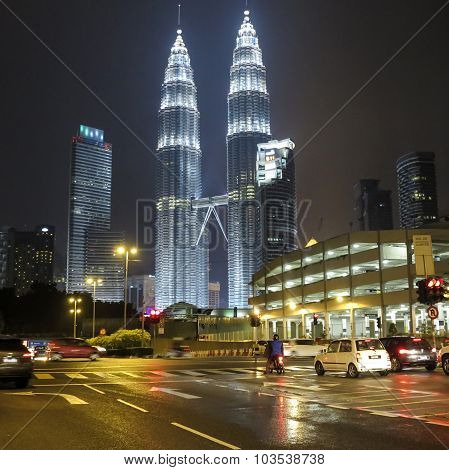 He Night View Of The Petronas Twin Towers At Klcc City Center