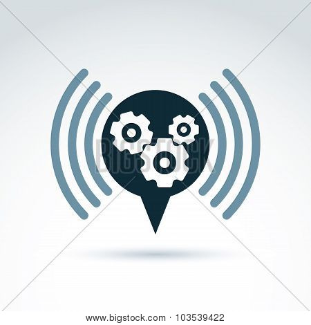 Gears And Cogs System Theme Icon, Information And Dialog, Vector Conceptual Stylish Symbol For Your