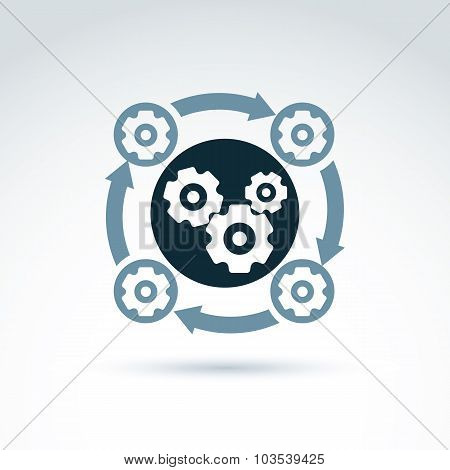 Rotating Gears And Cogs System Theme Icon, Vector Conceptual Stylish Symbol For Your Design.