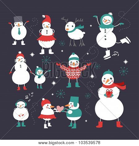 Set Of Christmas And New Year Cute Hand Drawn Vector Decorative Design Elements With Snowmans