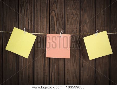 Note Papers On Wooden Board