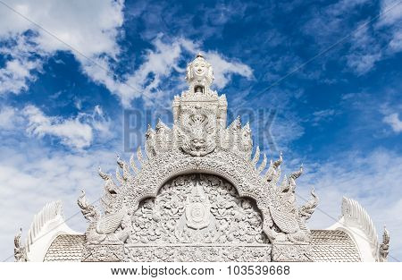 Traditional Thai Style Art Of Stucco In  The City Pillar  Shrine Of Nan In Thailand