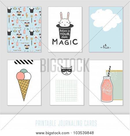 Set of 6 creative journaling cards.