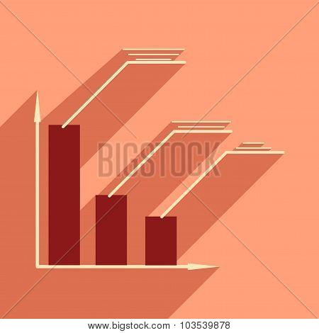 Flat with shadow icon Stylish economic schedule