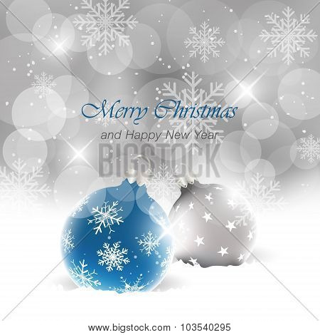 Christmas background with balls, light, stars, snowfall and snowflakes. Happy New Year vector illust