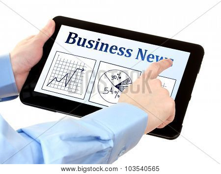 Man reading business news on tablet PC, isolated on white