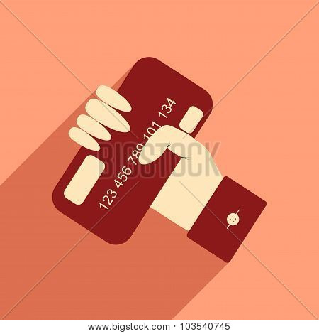 Flat with shadow icon bank card in hand