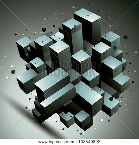 Geometric Abstract 3D Complicated Lattice Object, Single Color Asymmetric Element With Wireframe