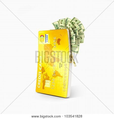 Open Credit Card With Dollar Bills, Isolated White Background