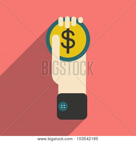 Modern flat icon with shadow Coin in a hand