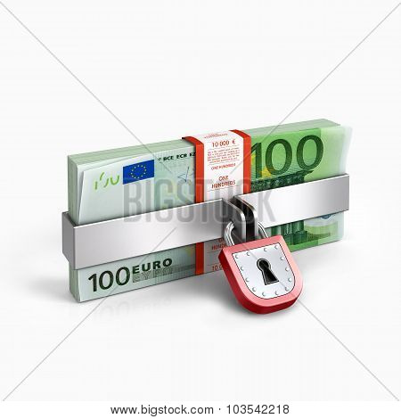 Padlock And Money Isolated On A White Background