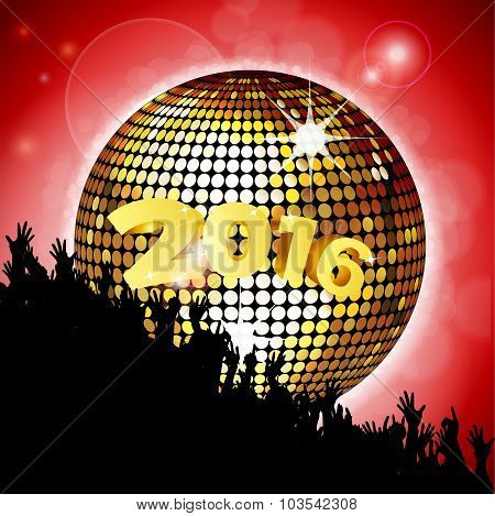 New Years Party 2016 With Disco Ball And Crowd