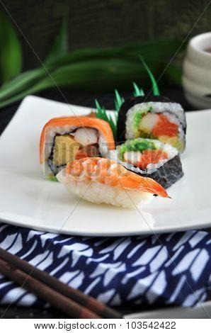Varieties Sushi Serve On White Dish