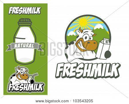 Logo Design Element Cow Fresh Millk