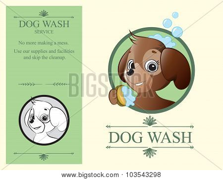Logo Design Element Wash Dog Service