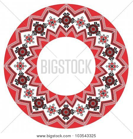 round ornament of embroidered good like handmade cross-stitch ethnic Ukraine pattern