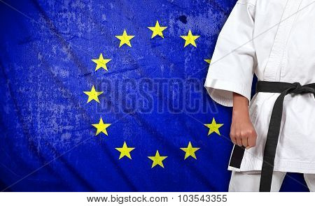 Boy In Kimono And European Union Flag