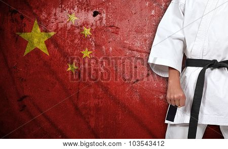Boy In Kimono And China Flag