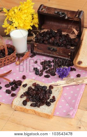 Dried Currants And Raisin Bread.