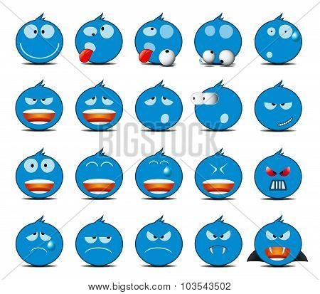 Set Of Light Blue Rounded Icons